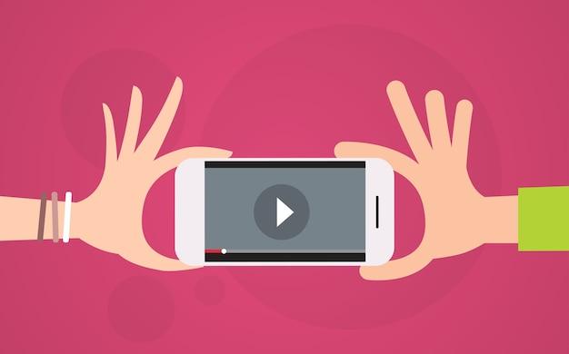 Video blog hand halten zelle smartphone-player