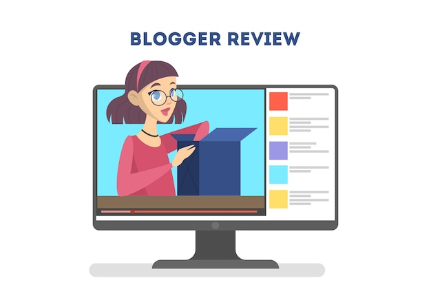 Video-blogger-konzept. internet-promi im sozialen netzwerk