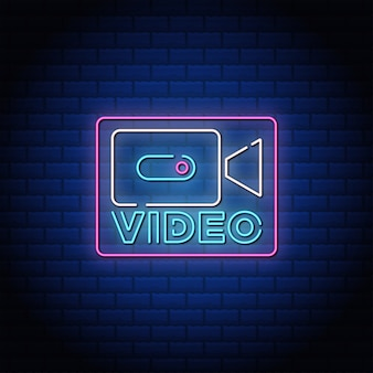 Video button neon sing style text.