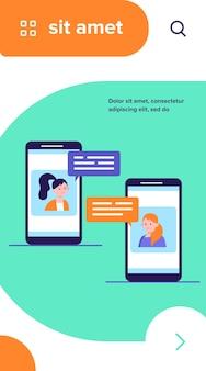 Video-chat am telefon. mädchen, die smartphones für die flache vektorillustration der telefonkonferenz verwenden