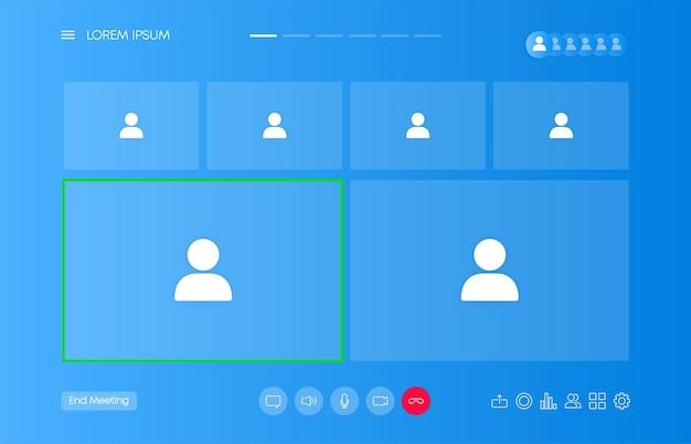 Video-chat-benutzeroberfläche, fenster-overlay für videoanrufe. ui-ux-design. vektor-illustration.