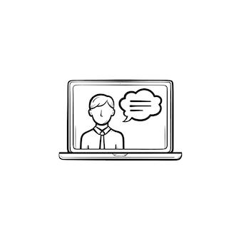 Video-chat-handgezeichnete umriss-doodle-symbol. computer-laptop mit video-chat auf der bildschirmvektorskizzenillustration für print, web, mobile und infografiken isoliert auf weißem hintergrund.