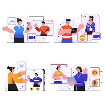 Video-chat-konzeptszenen stellen menschen ein, die sich über videoanrufe mit freunden treffen Premium Vektoren