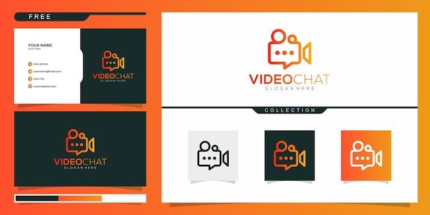 Video chat logo entwirft konzeptvektor. logo-design und visitenkarte