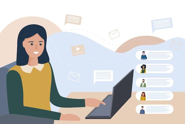 Video-chat und besprechung von geschäftsprozessen online vom home-office aus