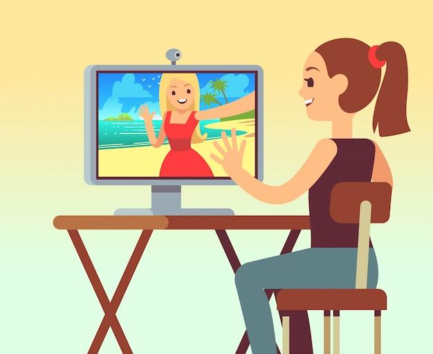 Video-chat zwischen freunden im kopfhörer am computer mit kamera.