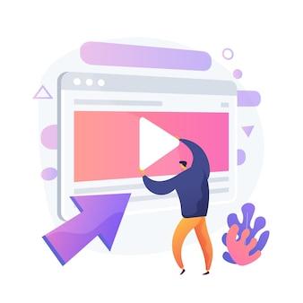 Video content creator, blogger bunte zeichentrickfigur. videobearbeitung, hochladen, schneiden. anordnung der videoaufnahme, manipulation. vektor isolierte konzeptmetapherillustration