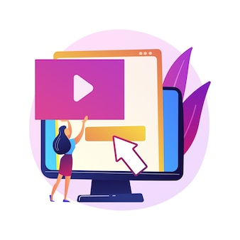 Video content creator, blogger bunte zeichentrickfigur. videobearbeitung, hochladen, schneiden. anordnung der videoaufnahme, manipulation