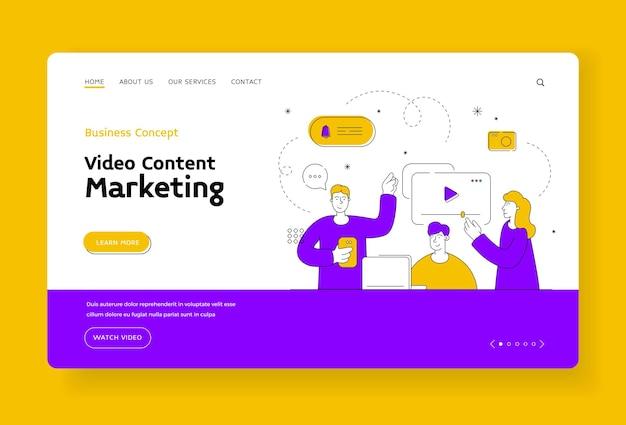 Video content marketing landing page banner vorlage. männer und frauen hinterlassen kommentare und schauen sich interessante videos im internet an. video-blogger-inhalt. flache artillustration, dünnes linienkunstdesign