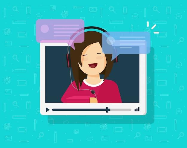 Video, das online mit mädchenperson plaudert