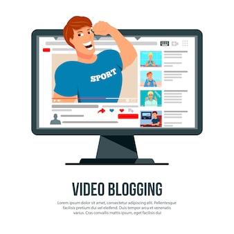Video, das populären sportautorcharakter bloggt, knallend aus flachem anzeigenwebsitetitel des bildschirms heraus