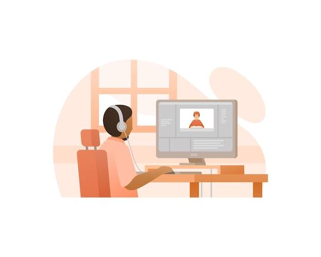Video-editor bearbeiten von videos auf computerillustrationen