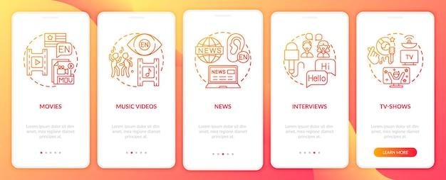 Video für das sprachenlernen onboarding mobile app seite bildschirme eingestellt
