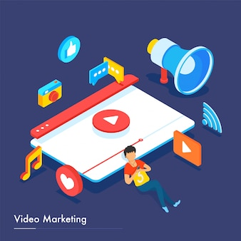 Video-marketing-basierte responsive landing page design.