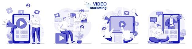 Video-marketing-isoliertes set in flachem design menschen erstellen und veröffentlichen inhalte online-werbung