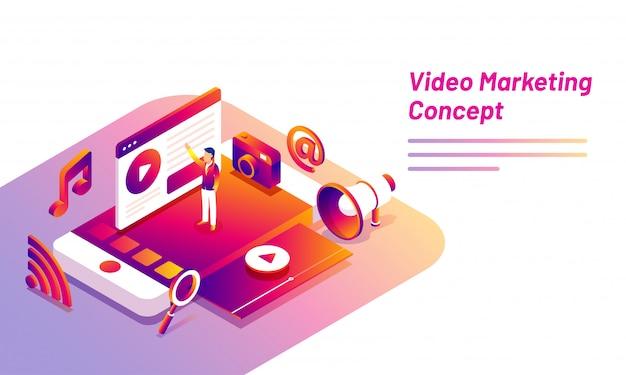 Video-marketing-konzept basierte landing page design.