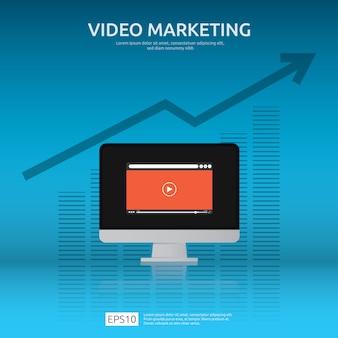 Video-marketing-konzept mit grafik und monitor-pc-bildschirm