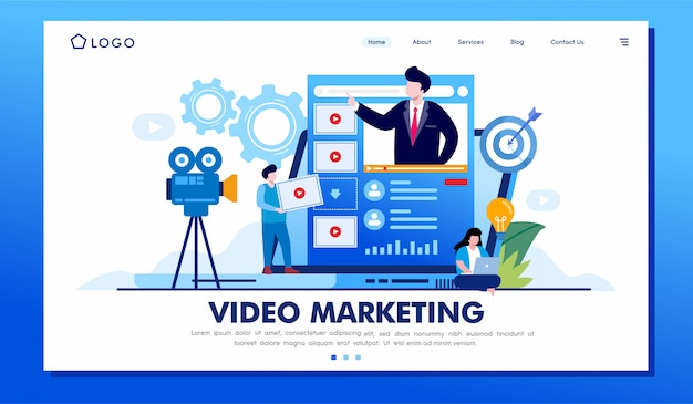 Video-marketing-landingpage-websiteillustrations-vektordesign