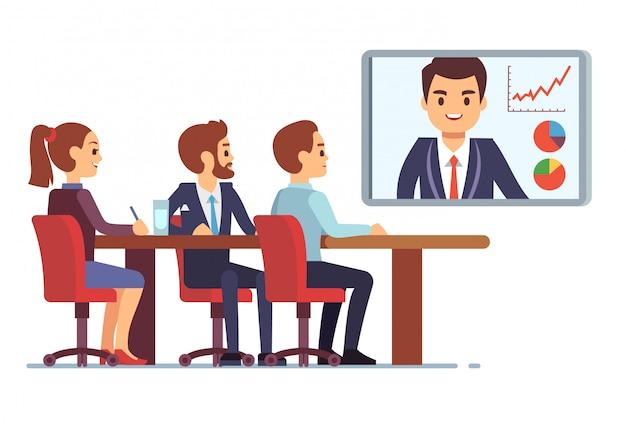 Video-meeting im büro mit kollegen und mitarbeitern. geschäftsteamwork und digitales on-line-kommunikationsvektorkonzept