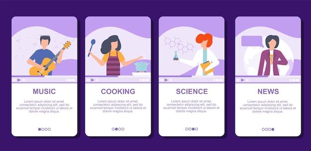 Video musik, wissenschaft, kochen und nachrichten tv-blog im internet online-illustration live-video-streaming, social-media-technologien.