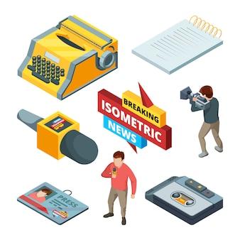 Video-nachrichten und journalistische. isometrische bilder satz von blogging und nachrichten