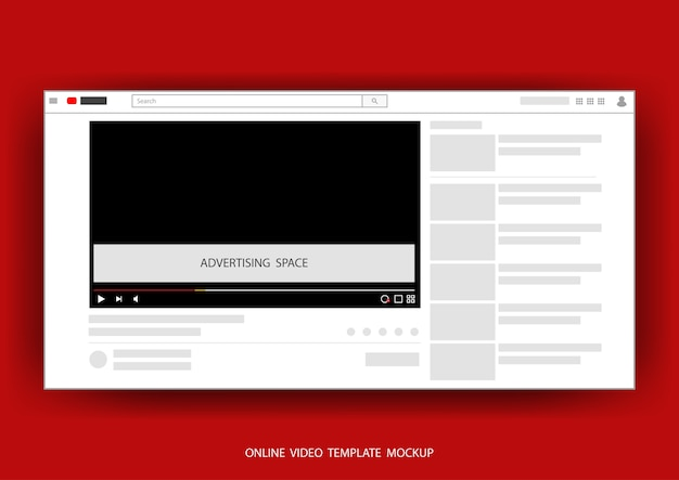 Video-on-line-kanalnetz-schablonenspott oben mit platz für die werbung der vektorabbildung.