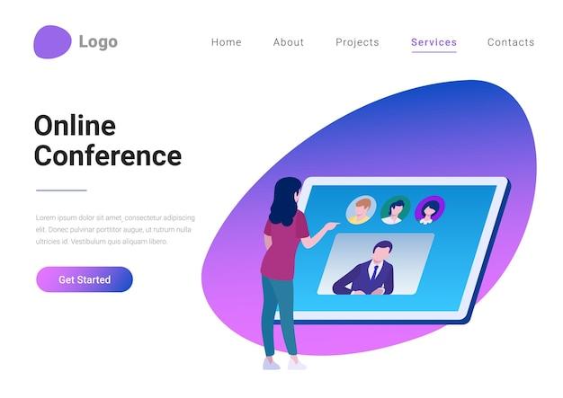 Video-online-konferenzkommunikationstechnologie im flachen stil vektor-illustration zielseitenbanner