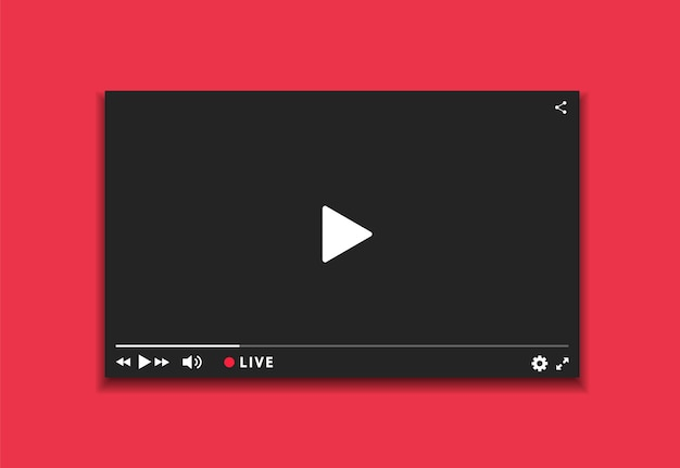 Video player fenster live-streaming. video player dunkle schnittstelle. spielerdesign mit button live stream.