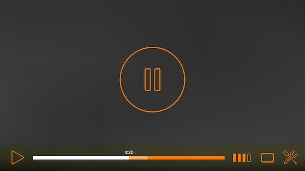 Video player-fenster mit menü und schaltflächen-panel-vektor