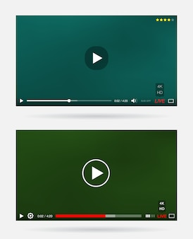 Video player-fenster mit menü und schaltflächen