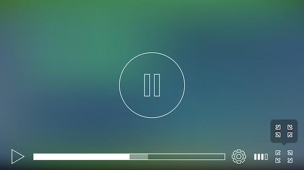 Video player-fenster mit menü- und schaltflächenbedienfeld