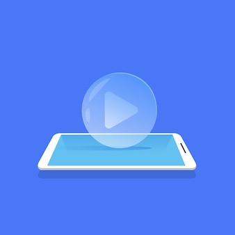 Video player icon media streaming mobile anwendung blauen hintergrund flach