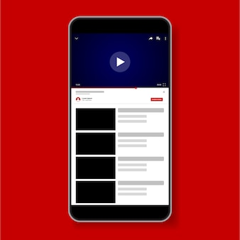 Video player template design. mockup live-stream-fenster, spieler. social media konzept.