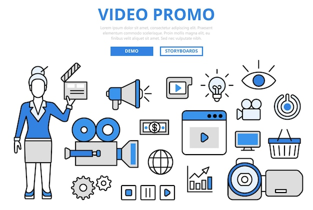Video promo digital marketing promotion technologie konzept flache linie kunst ikonen.
