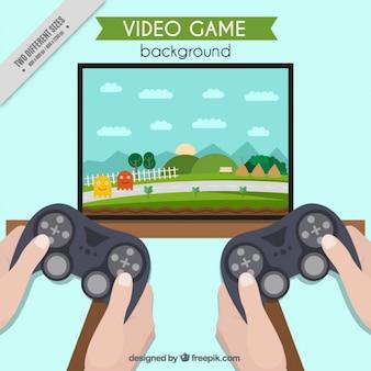 Video-spiel im fernsehen mit zwei joysticks