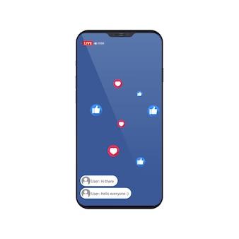 Video-streaming-app auf einem smartphone, chat und ähnliche symbole.