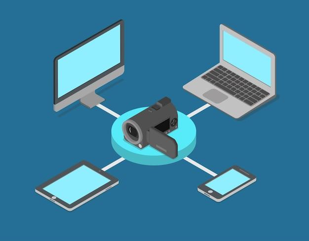 Video-streaming online-internet-medien flach isometrisch
