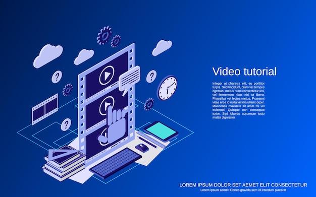 Video-tutorial, e-learning, online-bildung, benutzerhandbuch flache isometrische vektorkonzeptillustration
