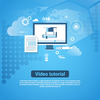 Video tutorial template web banner mit textfreiraum