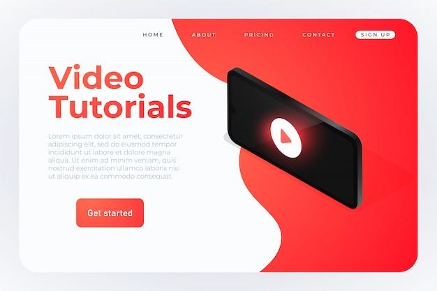 Video-tutorials isometrische web-vorlage