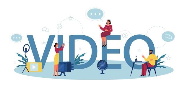 Video typografisches header-konzept. inhalte im internet teilen.