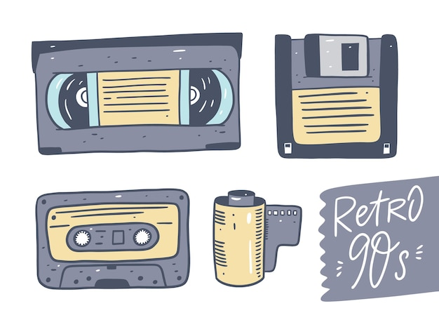 Video- und audiokassette, diskette, kamerarolle. retro-technologie-set. isoliert.