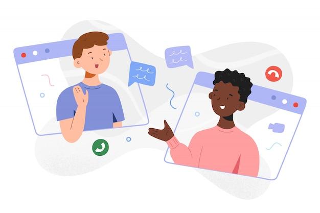 Videoanruf für kinder, jungen, die online chatten