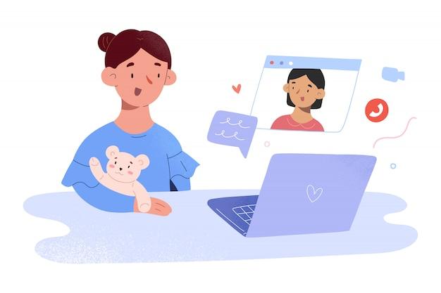 Videoanruf für kinder, kleine mädchen sprechen per videokonferenz