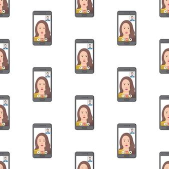 Videoanruf-konferenz nahtlose muster auf weißem hintergrund. online-meeting-thema-vektor-illustration