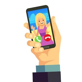 Videoanruf mit der jungen glücklichen frau, die smartphone verwendet