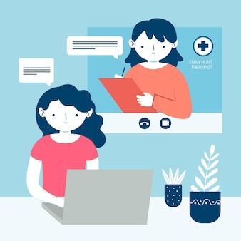Videoanruf und gespräch mit dem therapeuten