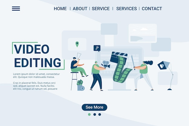 Videobearbeitungs-landingpage-webvorlage, videostudio, illustration im cartoon-stil