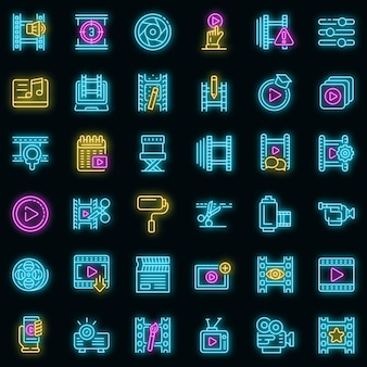 Videobearbeitungssymbole eingestellt. umrisse von videobearbeitungsvektorsymbolen neonfarbe auf schwarz