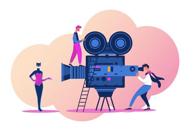 Videobetreiber mit professioneller ausrüstung zum aufnehmen von filmen
